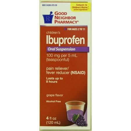 GNP Children's Ibuprofen Oral Suspension Grape Flavor - 100 mg per 5 ml Teaspoonful - for Ages 2 to 11, White