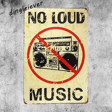 NO LOUD MUSIC Vintage Metal Sign Garage Home Decor Coffee Signs Kitchen Bar