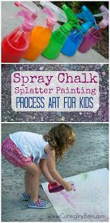 Spray Chalk Splatter Painting Process Art For Kids Open Ended Outdoor Activity Preschoolers And Elementary Children Fun Easy
