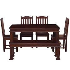Thar Solid Wood Four Seater Dining Set With Bench In Mahogany Finish ... Shop Psca6cmah Mahogany Finish 4chair And Ding Bench 6piece Three Posts Remsen Extendable Set With 6 Chairs Reviews Fniture Pating By The Professionals Matthews Restoration Tustin Chair Room Store Antoinette In Cherry In 2019 Traditional Sets Covers Leather Designs Dark Superb 1960s Scdinavian Design Rose Finished Teak Transitional Upholstered Mahogany Ding Room Chairs Lancaster Table Seating Wooden School House Modern Oval Woptional Cleo Set Finish Home Stag Extending Table 4