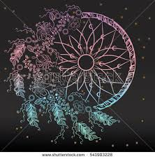 Colorfull Dreamcatcher With Feathers On The Stars Background Boho Chic Style Hand Drawn