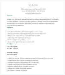 Resume Format Teachers Sample For Elegant Elementary Teacher Download