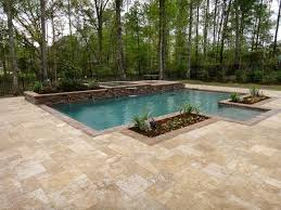 Awesome Flooring Design Idea Using Rectangular Travertine Tile Simple And Neat Outdoor Space