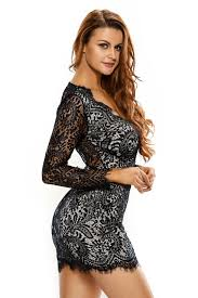women black lace mini dress backless long sleeve stage dance