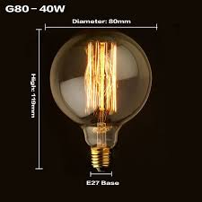g80 g95 vintage edison bulb light incandescent bulbs e27 40w home