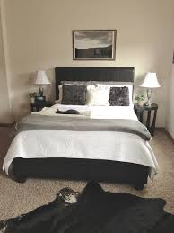 Bedroom Color Scheme Black Leather With Grey And White Bed