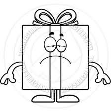 Cartoon Birthday Gift Sad Black and White Line Art