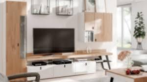 interliving wohnzimmer serie 2105 lowboard uk2 103t weißer lack balkeneiche anthrazitfarbenes metall drei schublade