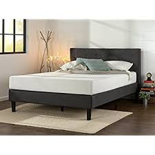 amazon com zinus upholstered button tufted platform bed with