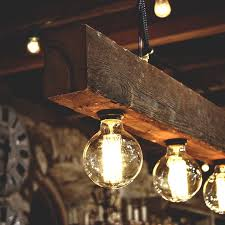 Reclaimed Wood Beams Chandelier With Old Bulbs Perfect Lighting For
