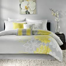 madison park brianna grey and yellow flower printed cotton