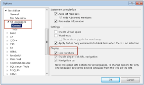 Options For Displaying Line Numbers In The Editor