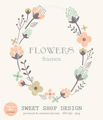Flower Border Clip Art Frames Wedding By SweetShopDesign 495