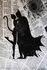Batman And Catwoman Newspaper Painting By Del Art