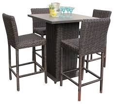 5 Piece Bar Height Patio Dining Set by Rustico Wicker Outdoor Pub Table With Bar Stools 5 Piece Set
