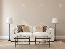 moderne wohnzimmer interieur mit weißen in der nähe leer beige wand 3d darstellung photo buchdecke wurde mir