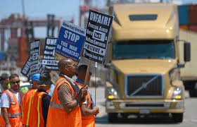 Angry Union Members Protest Outside Shipping Conference In Long ... With 10 Years Of Clean Trucks Program Los Angeles Long Beach California Trucking School Charged In 43 Million Va Fraud La To Consider Blocking Trucking Companies That Use Ipdent Semi For Sale In Nc Upcoming Cars 20 Imperial Truck Driving 3506 W Nielsen Ave Fresno Ca 93706 Cdl Jobs Now Hiring For Driver Cr England Becoming A Your Second Career Midlife Financial Aid Traing Us Trade And Logistics Southern California Harbor College