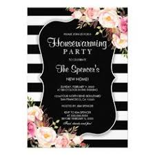 Elegant Floral Stripe Housewarming Invitation