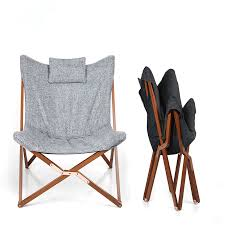 Folding Butterfly Chair Grey Fabric Cushion Upholstery Living Room Furniture Modern Lounge Frame Solid Wood In Chairs From
