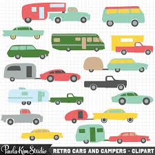 Vintage Camper And Car Clipart Retro RV Clip Art 5th Wheel Trailers Instant Download Commercial Use