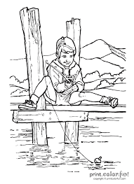 Boy Fishing On Pier Coloring Page