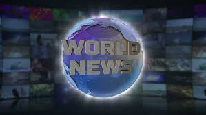 World News On Screen 3D Animated Text Graphics Over Spinning Glass Globe Broadcast Graphic