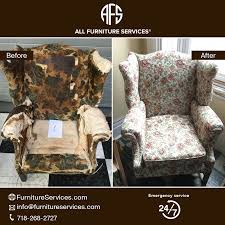 Queen antique wing back chair re upholstery padding