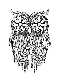 Feather Owl Coloring Page Adult Pages Doodling