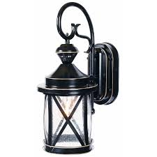 shop secure home 18 in black outdoor wall light at lowes