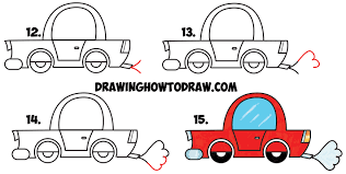 Learn How to Draw a Cartoon Car from Lowercase Letter e Shapes Simple Step by