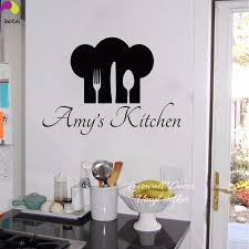 Personalized Name Chef Hat Utensils Kitchen Wall Sticker Cuision Cook Dining Room Custom Decal