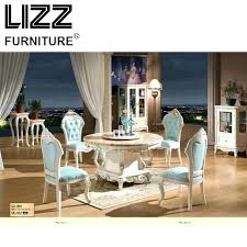 Marble Dining Room Table Furniture Set Royal Antique Style Round Chesterfield Leather