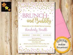 Pink and Gold Bridal Shower Invitation Dots Confetti