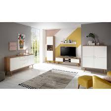 wohnzimmer kombination im skandi design weiß und eiche 5 teilig