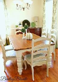 BentleyBlonde: DIY Farmhouse Table & Dining Set Makeover ... Buy Round Kitchen Ding Room Sets Online At Overstock Amish Fniture Hand Crafted Solid Wood Pedestal Tables Starowislna 5421 54 Inch Country Table With Distressed Painted Pedestal Typical Measurements Hunker Caster Chair Company 7 Piece Set We5z9072 Wood Picture Decor 580 Tables World Interiors Austin Tx Clearance Center Dinettes And Collections Costco Saarinen Tulip Marble
