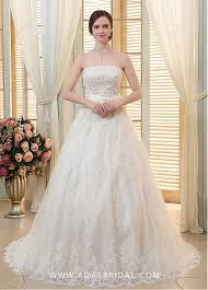 Stunning Tulle Strapless Neckline Ball Gown Wedding Dresses With