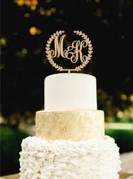 Custom Monogram Wedding Cake Topper Initial Wooden Rustic Regarding Gold Toppers