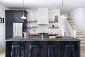 Navy Kitchen Island With Soapstone Countertops