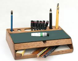 DeskMesmerizing Rustic Wood Desk Organizer Vintage Mid Century Office Accessories Desktop Pen Holder