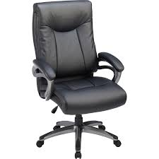 Lorell High Back Executive Chair - Leather Black Seat - 5-star Base - 27