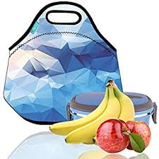 Lunch Tote OFEILY Boxes Bags With Fine Neoprene Material Waterproof Picnic Bag Mom Blue Diamond