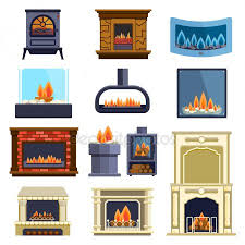 Set Of Vector Fireplace Icons Stock