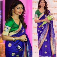 Shriya Saran Art Silk Blue Kanjivaram Print Bollywood Designer Saree