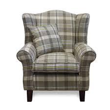 neyland sky tartan fabric wingback chair sloane sons