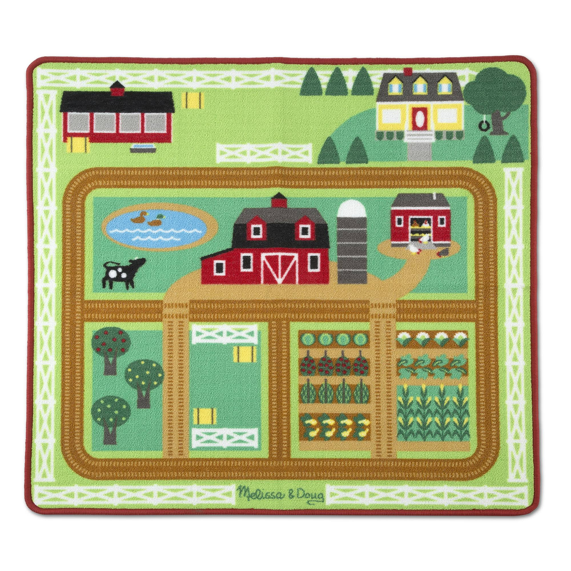 Melissa & Doug Round The Barnyard Farm Play Rug