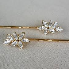 Swarovski Crystal Rhinestone Leaf Bobby Pin Jewelry Gold Rustic Wedding Hair Slide Bridesmaid Gift Downton Abbey Bridal