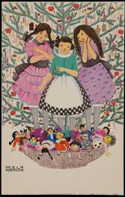 Three Girls With Dolls In Front Of A Christmas Tree