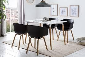 esszimmer essgruppe mit 4 stühlen esstisch komplettset holzoptik matt lackiert weiß schwarz