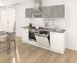 respekta einbau küche küchenzeile küchenblock 220 cm weiss beton optik inkl softclose cerankochfeld geschirrspülmaschine