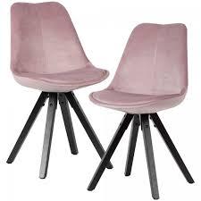 weiches esszimmerstuhl 2er set ohne armlehnen in rosa samt küchenstühle modern mit schwarzen holzbei